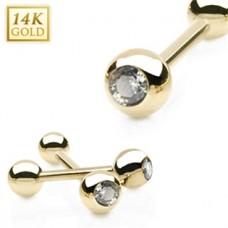 Zlatý piercing do jazyka - zirkón, Au 585/1000
