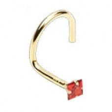 Zlatý piercing do nosa - červený zirkón, Au 585/1000
