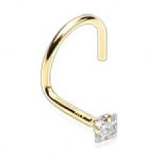 Zlatý piercing do nosa - číry zirkón, Au 585/1000