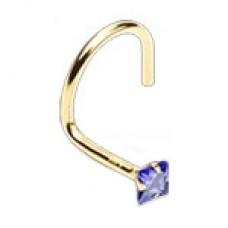 Zlatý piercing do nosa - fialový zirkón, Au 585/1000