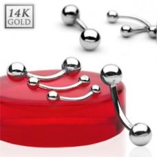 Zlatý piercing do obočia - guličky, Au 585/1000