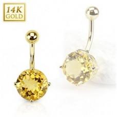 Zlatý piercing do pupku - citrín, Au 585/1000