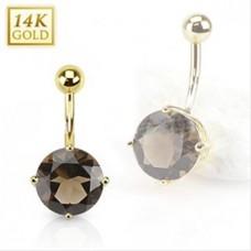 Zlatý piercing do pupku - dymový kremeň, Au 585/1000