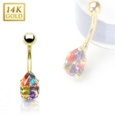 Zlatý piercing do pupku - farebná kvapka, Au 585/1000