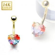 Zlatý piercing do pupku - farebné srdiečko, Au 585/1000