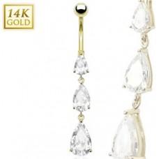 Zlatý piercing do pupku - kubické zirkóny, Au 585/1000