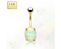 Zlatý piercing do pupku s opálom, Au 585/1000