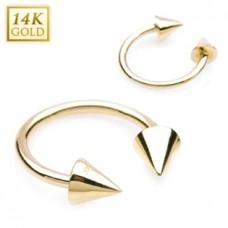 Zlatý piercing - podkova, Au 585/1000