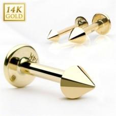 Zlatý piercing do brady labreta - konus - Akcia!