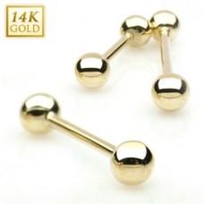 Zlatý piercing do jazyka - Au 585/1000