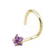 Zlatý piercing do nosa - hviezda, fialový zirkón, Au 585/1000