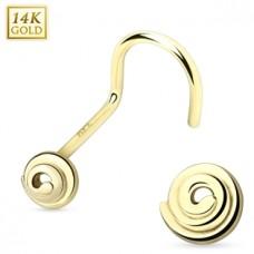 Zlatý piercing do nosa - špirála, Au 585/1000