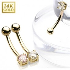 Zlatý piercing do obočia - ružový zirkón, Au 585/1000
