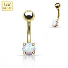 Zlatý piercing do obočia s opálom, Au 585/1000
