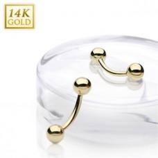 Zlatý piercing do obočia, Au 585/1000