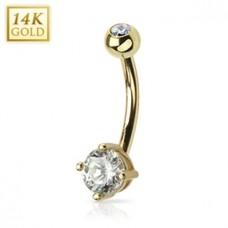 Zlatý piercing do pupku - číre zirkóny, Au 585/1000
