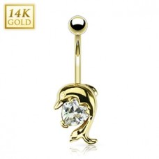 Zlatý piercing do pupku - delfín, Au 585/1000