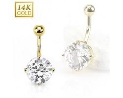 Zlatý piercing do pupku - kubický zirkón, Au 585/1000