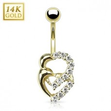 Zlatý piercing do pupku - srdiečka, Au 585/1000