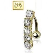 Zlatý piercing do pupku, číre zirkóny, Au 585/1000