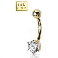 Zlatý piercing do pupku, číry zirkón, Au 585/1000